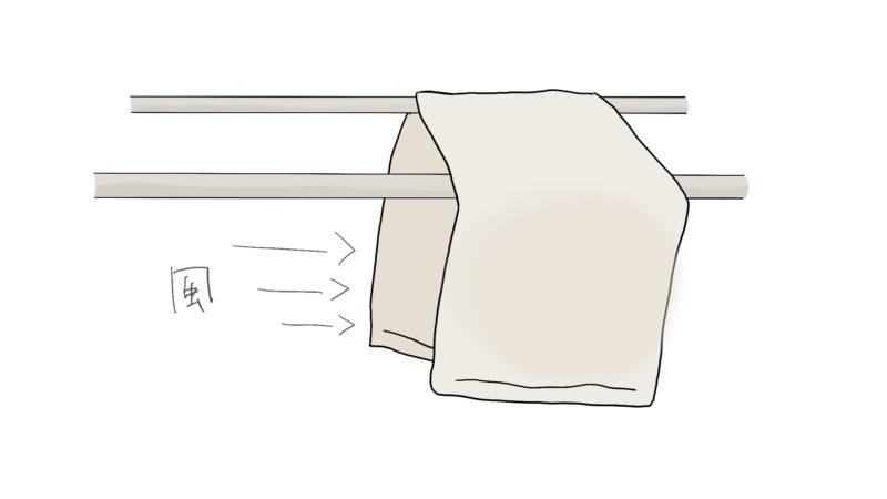 風が通るからタオルが乾きやすいかな